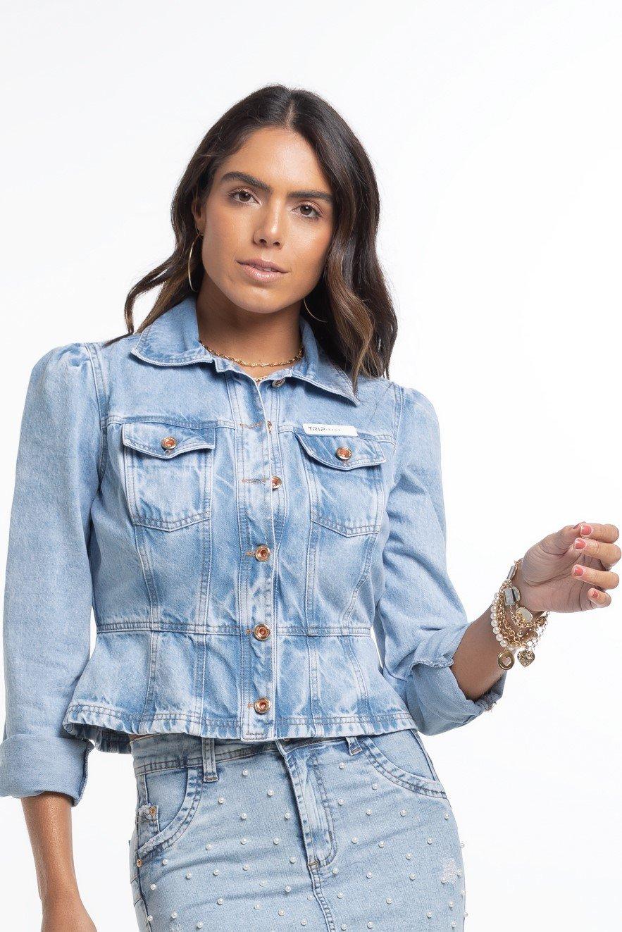 Jaqueta Jeans Feminina Cintura Marcada