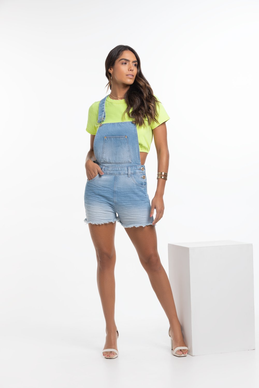 Jardineira Feminina Jeans Clara