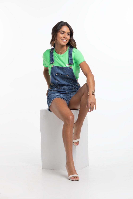 Jardineira Jeans Feminina Escura