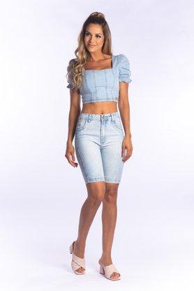 Bermuda Jeans Feminina Cintura Alta Slim Clara