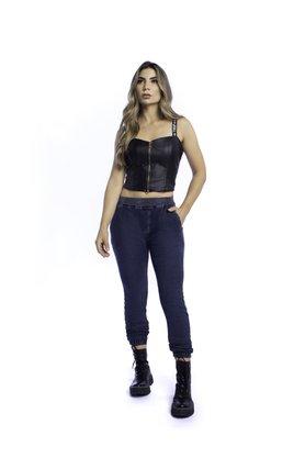 Calça Jeans Feminina Jogger Escura