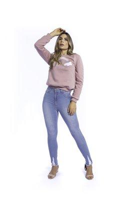 Calça Jeans Feminina Modeladora Belly Plate Cigarrete