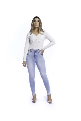Calça Jeans Feminina Modeladora Cintura Alta Cigarrete Barra Virada