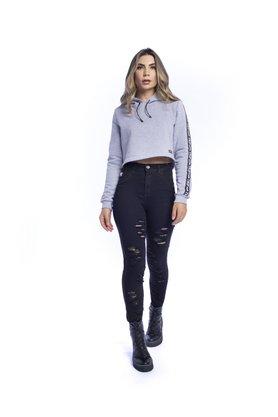 Calça Jeans Feminina Modeladora Skinny Black Destroyed