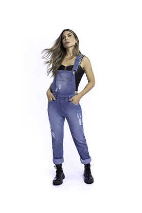 Jardineira Jeans Feminina Destroyed