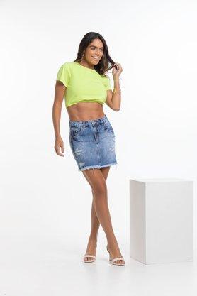 Mini Saia Trip Jeans Marmorizada 100%