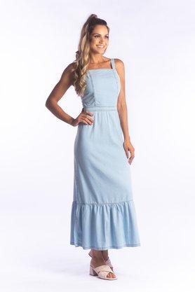 Vestido Jeans Feminino Longo Florecer