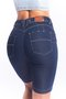 Bermuda Jeans Feminina Cintura Alta Slim Escura