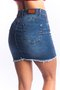 Mini Saia Jeans Feminina Modeladora com Recorte Lateral