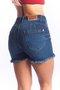 Short Jeans Feminino Modelador Cintura Alta Barra Desfiada