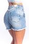 Short Jeans Feminino Modelador Cintura Alta Barra Destroyed