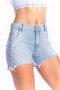 Short Jeans Feminino Modelador Cintura Alta  com Bordado Pérolas