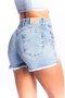 Short Jeans Feminino Modelador Cintura Alta com Barra Assimétrica