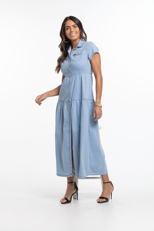 Vestido Jeans Longo Chamise