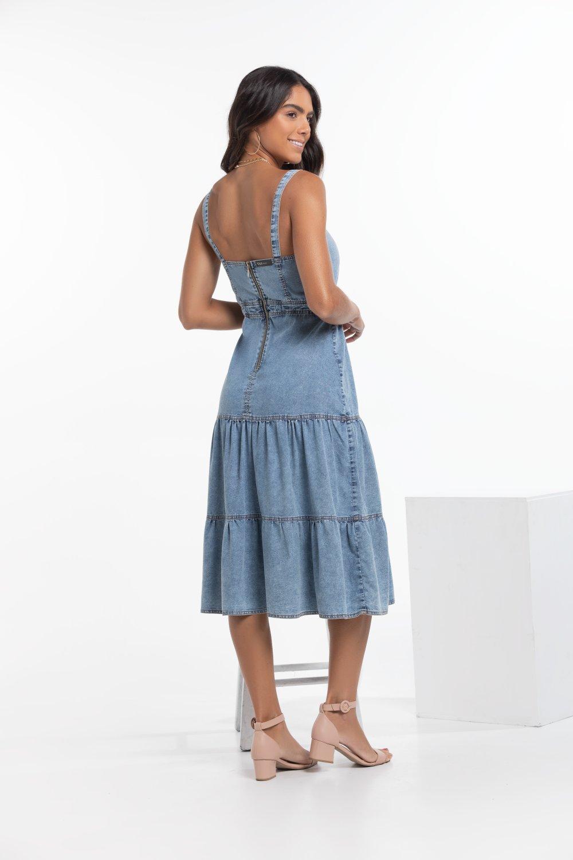Vestido Jeans Midi de Camadas